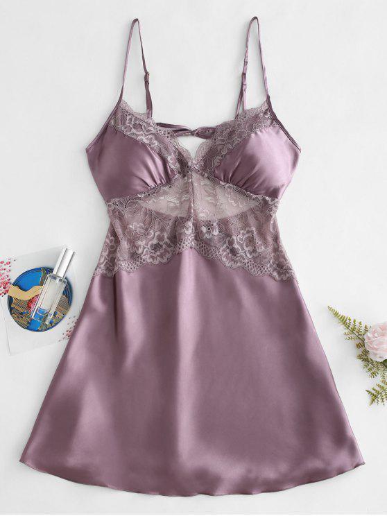 Vestido de renda deslizante de inserção de renda - Viola Roxo M
