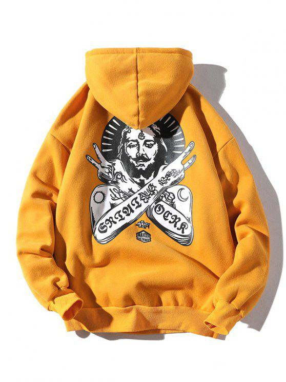 fancy Ancient Pharaoh Pattern Kangaroo Pocket Hoodie - BEE YELLOW XL