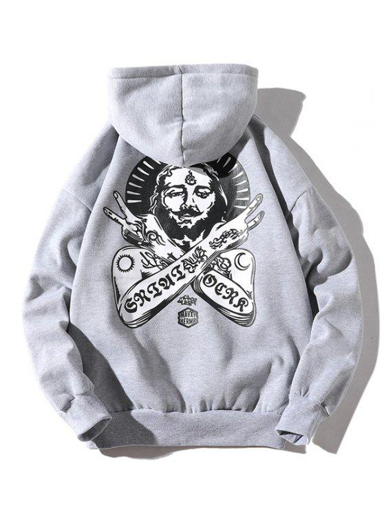 new Ancient Pharaoh Pattern Kangaroo Pocket Hoodie - LIGHT GRAY L