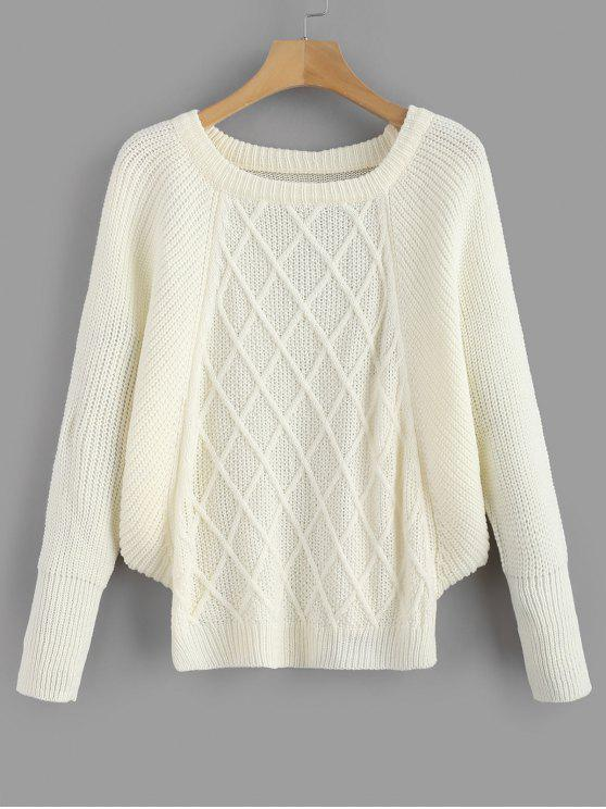 best Loose Crew Neck Batwing Sweater - WHITE ONE SIZE