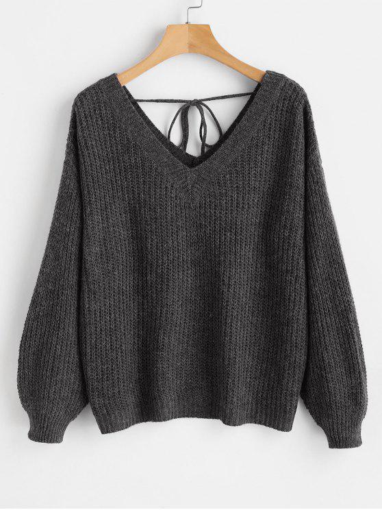 Übergroßer Pullover mit V-Ausschnitt und Schulter - Schwarz S