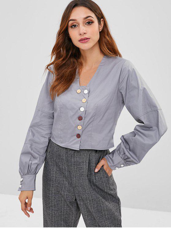 Cropped Button Up Blusa de tecido - Ardósia Cinza Um Tamanho