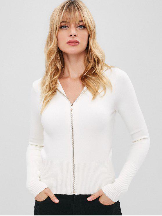 Coleira Cardigan Zip Up - Branco S