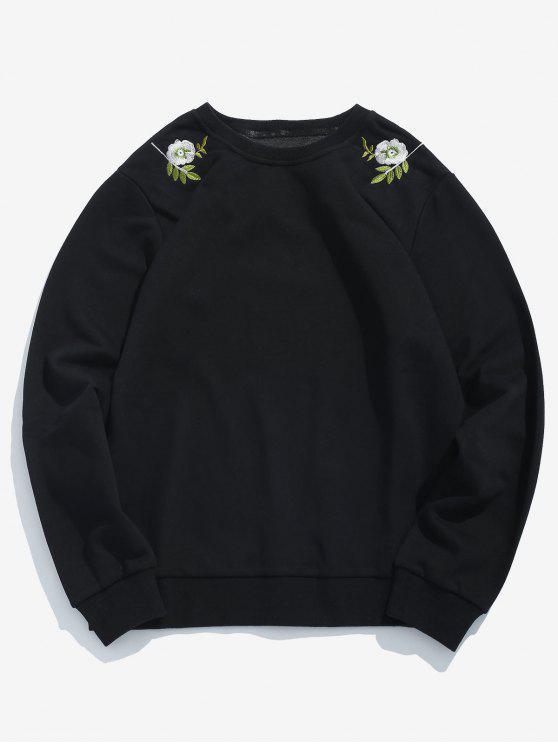 Camisola gráfica bordada folhas da flor - Preto XS