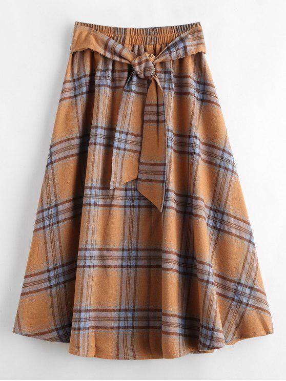 latest ZAFUL A Line Plaid Skirt - MULTI L