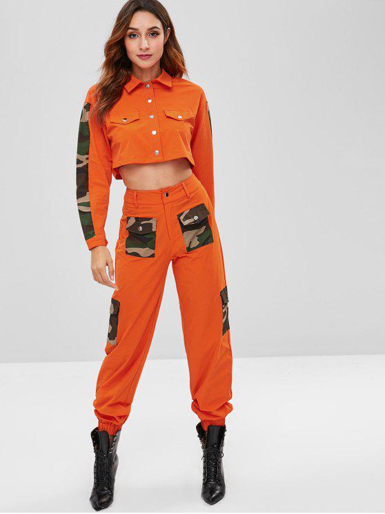womens ZAFUL Camo Panel Shirt and Pocket Pants Set - HALLOWEEN ORANGE S