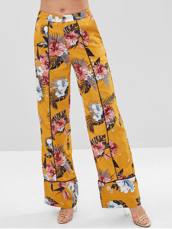 ZAFUL estampado floral Piping pantalones de pierna ancha - Amarillo Brillante L