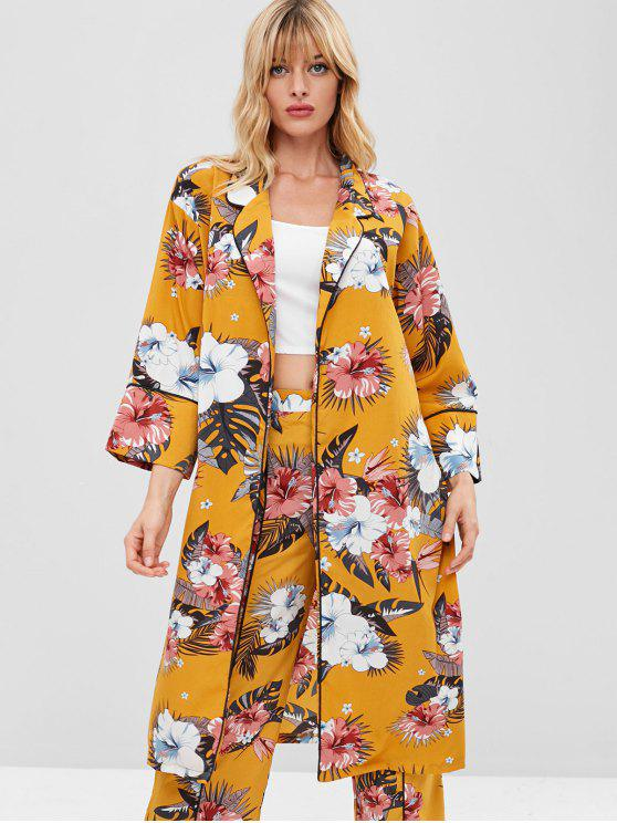 outfits ZAFUL Floral Print Lapel Piping Cardigan - BRIGHT YELLOW L