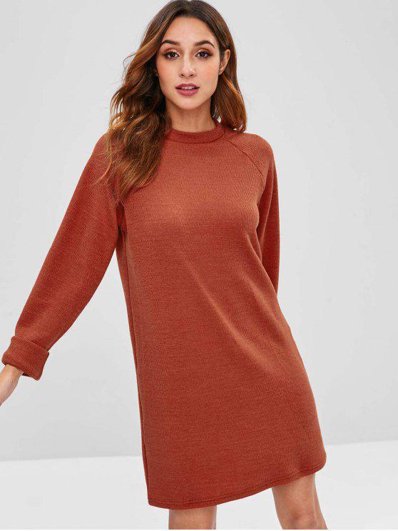 فستان راجلان كم شيفت - كستنائي أحمر M