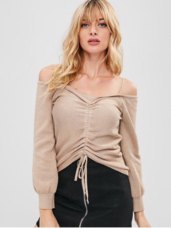Cinched Metallic Thread Kalte Schulterpullover - Helles Khaki Eine Größe