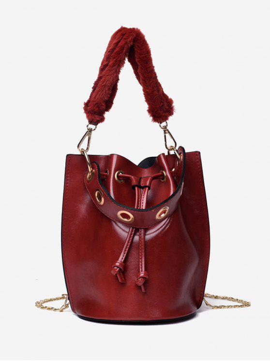 hot Bucket String Design Handbag - RED DIRT