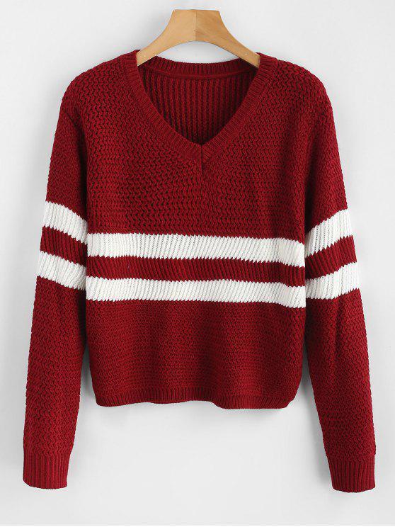 Listras Contrastantes V Sweater Sweater - Vinho Tinto Um Tamanho