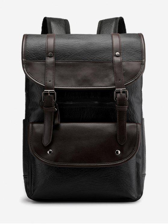 unique Buckle Color Block School Backpack - BLACK