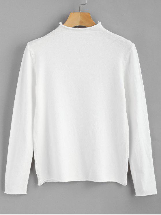 chic Mock Neck Plain Sweater - WHITE ONE SIZE