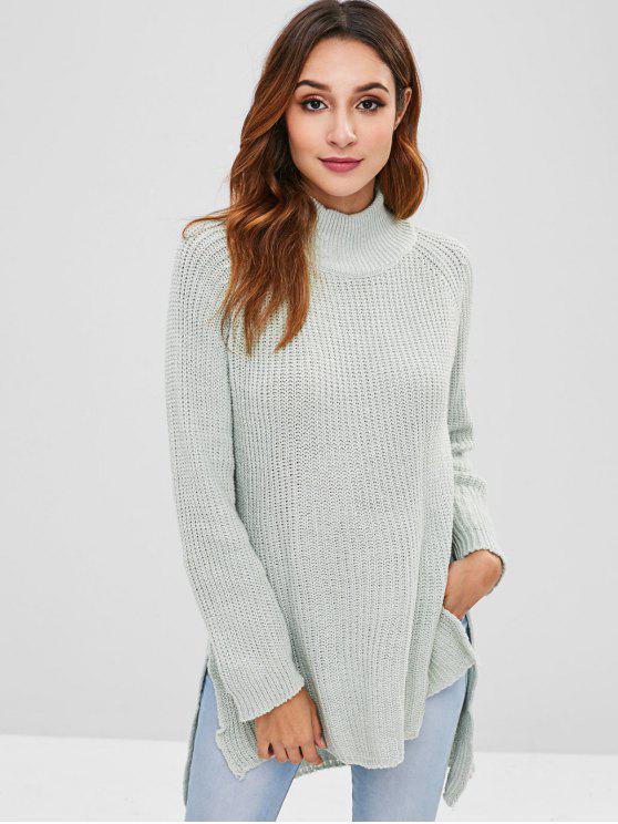 Mock Neck High Low Longline Pullover - Hellblau Lilie Eine Größe