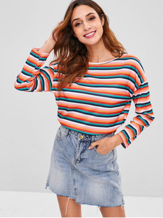 T-shirt manga comprida multicolorida listrada - Multi XL
