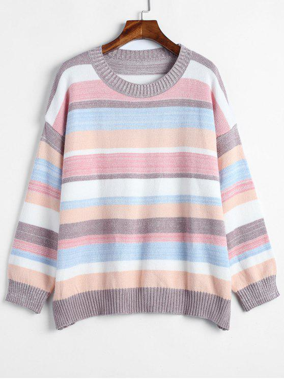 latest Pullover Oversized Striped Sweater - MULTI ONE SIZE