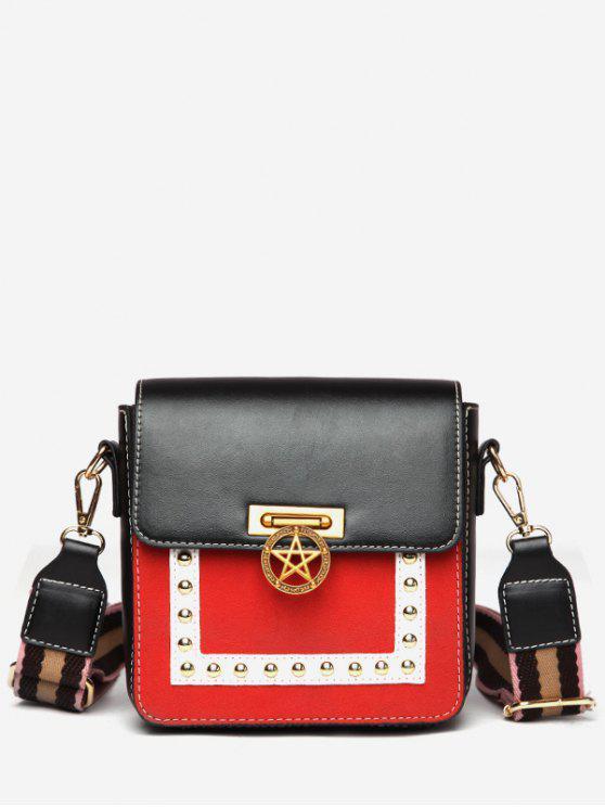 chic Star Rivet Pattern Crossbody Bag - BLACK