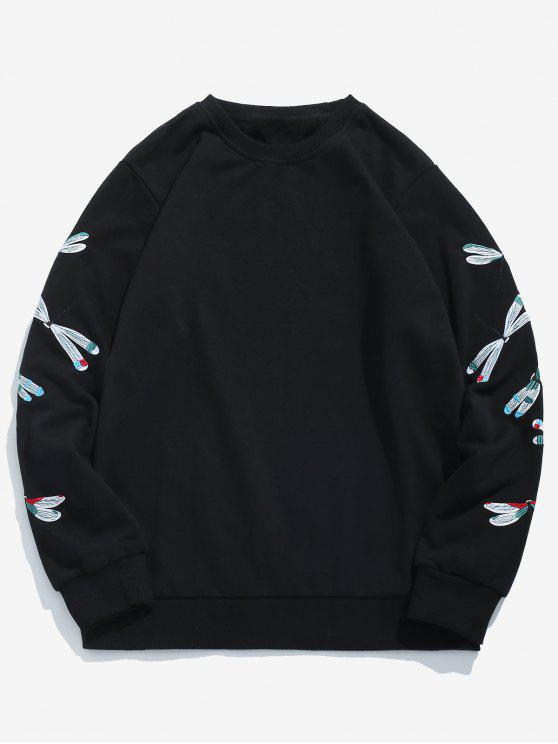 chic Sleeve Dragonfly Embroidered Sweatshirt - BLACK S