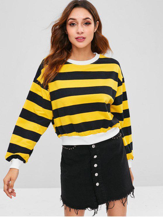 Gestreiftes Pullover Drop Shoulder Sweatshirt - Multi Eine Größe