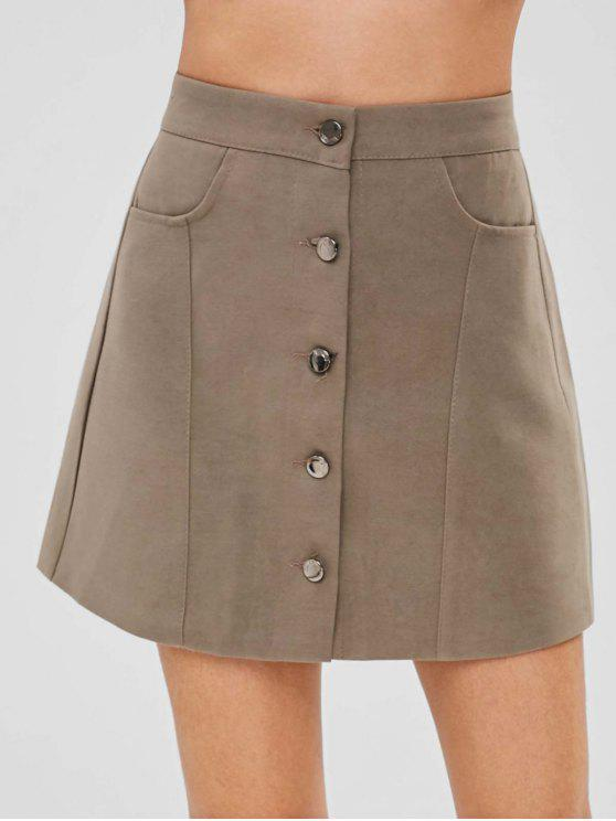 5b8e9f305767 29% OFF] 2019 Button Front A Line Mini Skirt In TAUPE | ZAFUL