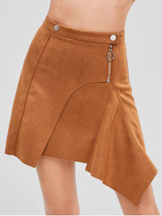 e5a784bf4c 29% OFF] 2019 Wrap Faux Suede Asymmetrical Mini Skirt In BROWN | ZAFUL
