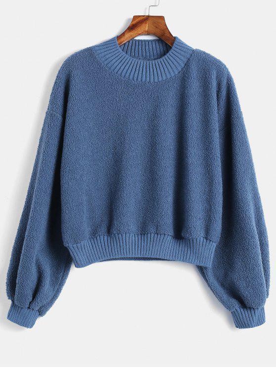 Camisola Shearling do falso macio liso - Azul M