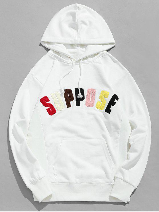 Sweat à capuche avec lettres et patchwork - Blanc M
