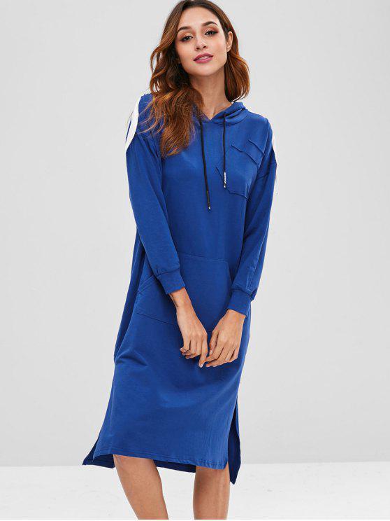 Side Slit Front Pocket Hoodie Dress - Azul Escuro Tamanho único