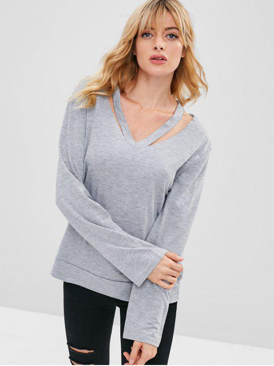 Slash V Neck Pullover Sweatshirt - Gris Claro S