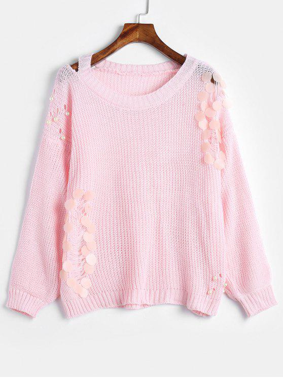 outfit Faux Pearls Beaded Distressed Sweater - LIGHT PINK ONE SIZE