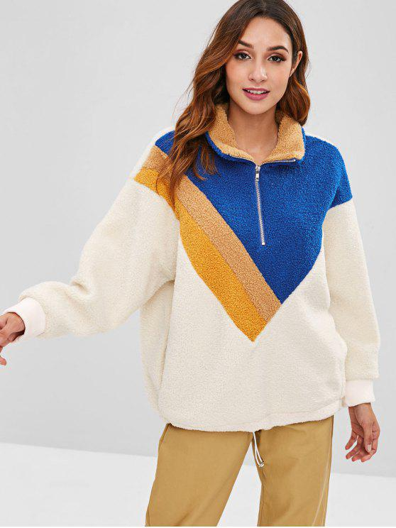 fashion Teddy Color Block Borg Oversized Sweatshirt - MULTI ONE SIZE