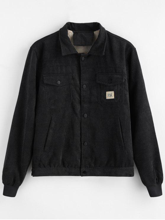 Bolsillos de apliques de pana de abrigo - Negro L