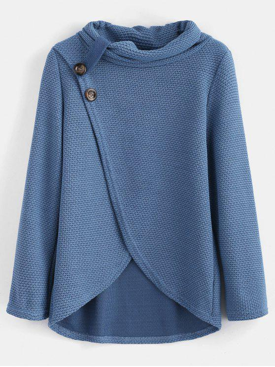 Buttoned Overlap Cowl Neck Top - Blaue Koifisch M
