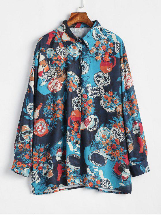 Camisa con botones sueltos estampados - Multicolor S