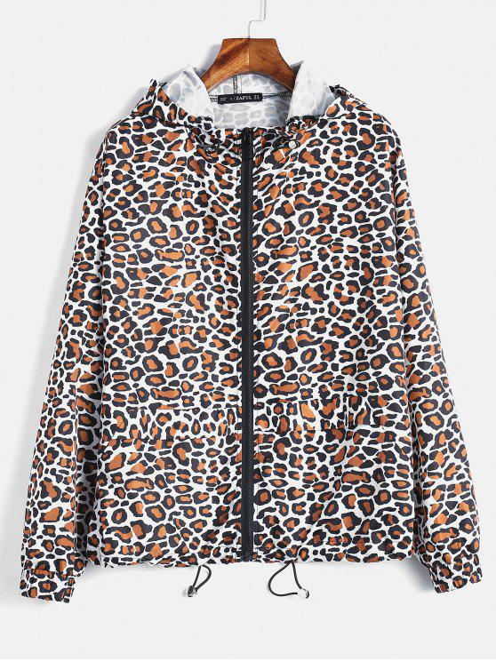 sale ZAFUL Leopard Loose Hooded Windbreaker - LEOPARD M