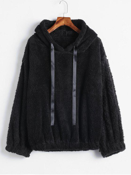 best Drop Shoulders Faux Shearling Hoodie - BLACK ONE SIZE