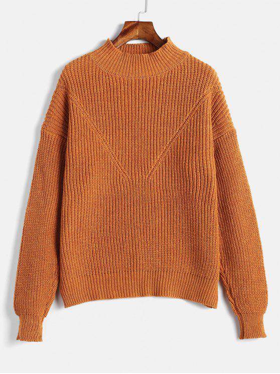 women's Solid Color Pullover Sweater - CARAMEL ONE SIZE