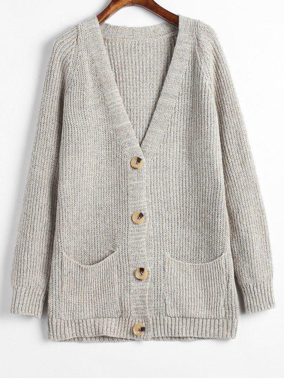 Bolsos Button Up Heathered Cardigan - Cinza claro Um Tamanho
