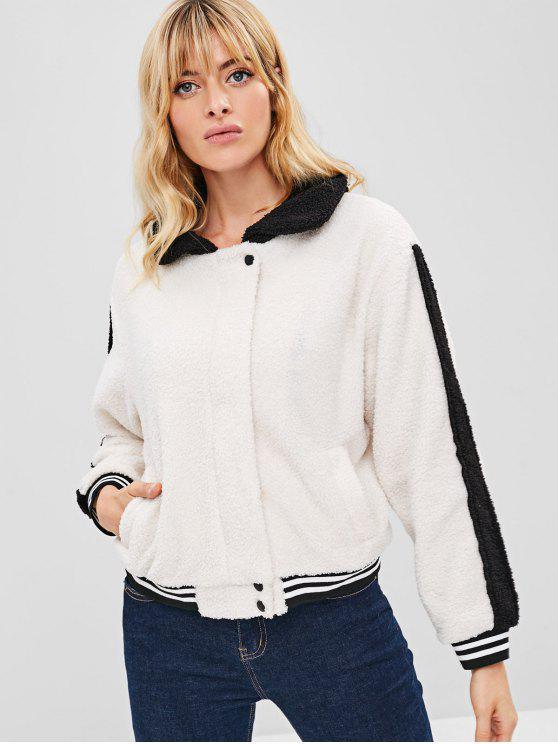 chic ZAFUL Color Block Striped Fluffy Coat - WARM WHITE M