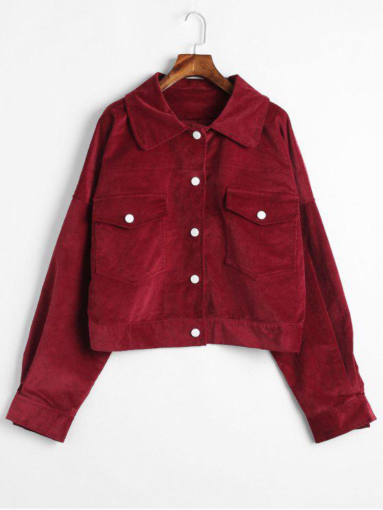 women's ZAFUL Snap Button Corduroy Shirt Jacket - RED WINE S