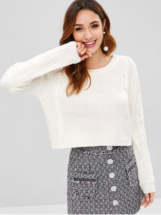 049f61459cb 45% OFF] 2019 Cable Knit Crop Sweater In WHITE | ZAFUL