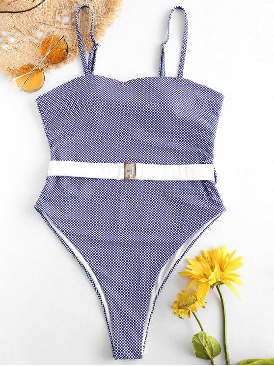 shops ZAFUL Checkered Belt Bandeau Swimsuit - MULTI L