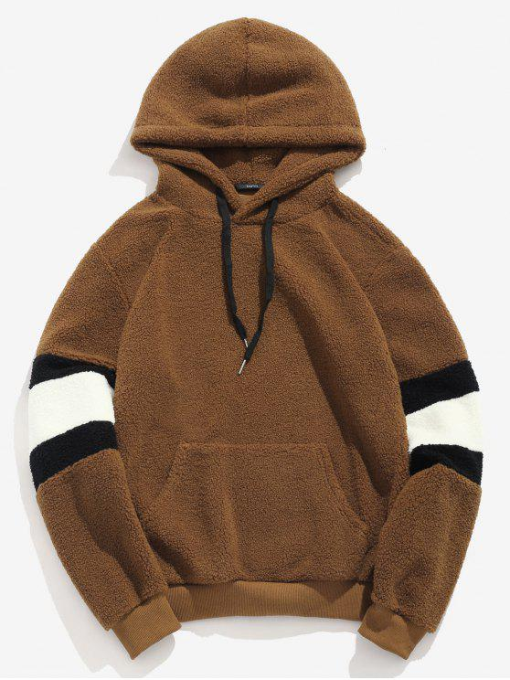 hot ZAFUL Contrast Stripe Pullover Fluffy Hoodie - BROWN S