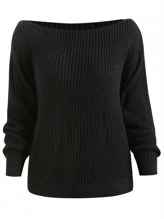 [47% OFF] 2018 ZAFUL Relaxed Slash Neck Sweater In BLACK M ...