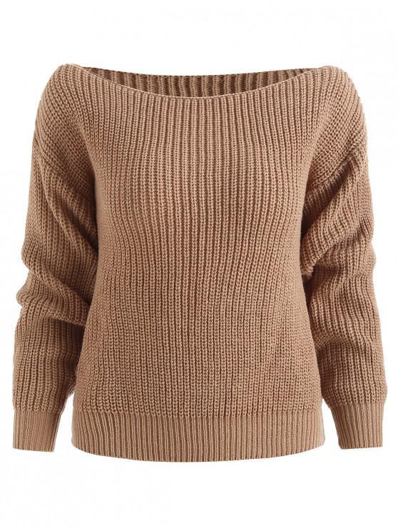 ZAFUL relajado suéter de cuello slash - Caqui S