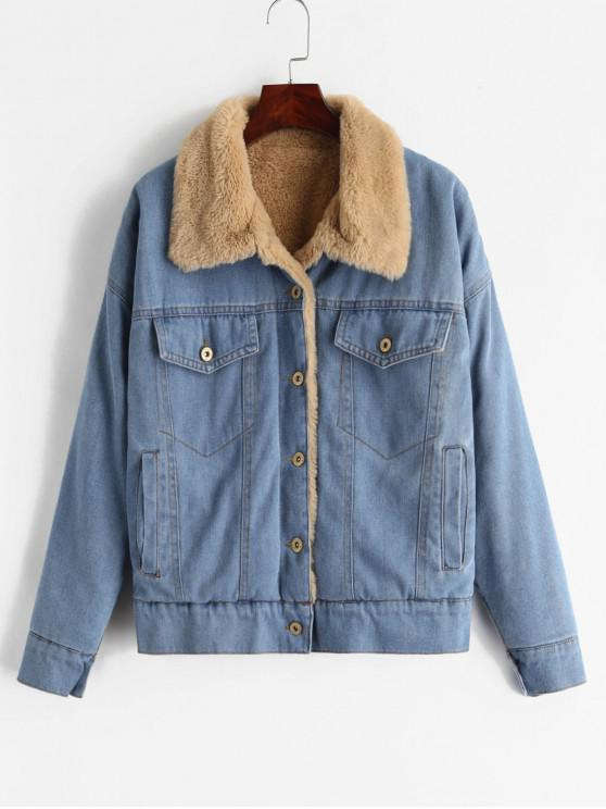 f8ecf35501f5 41% OFF  2019 ZAFUL Faux Fur Lined Winter Denim Jacket In DENIM BLUE ...