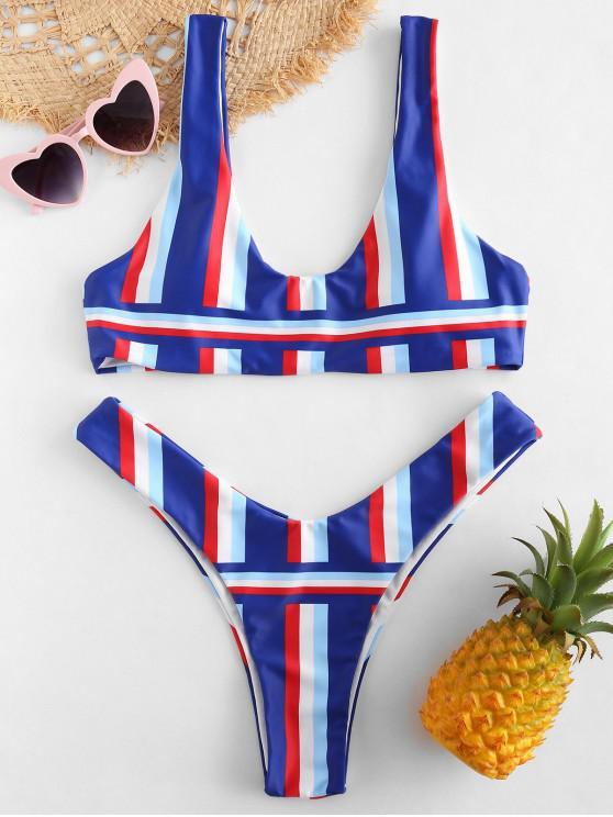 ZAFULConjunto de Bikini Tanque de Rayas de Colores - Multicolor M