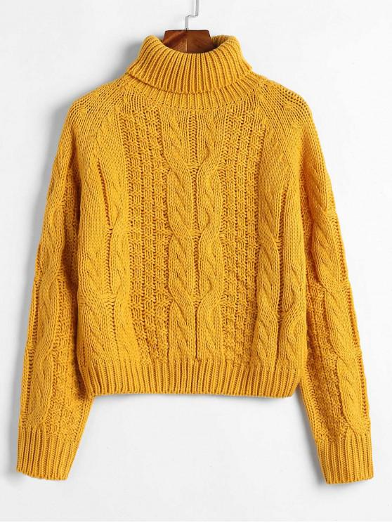 lady ZAFUL Turtleneck Cropped Cable Knit Sweater - BEE YELLOW M