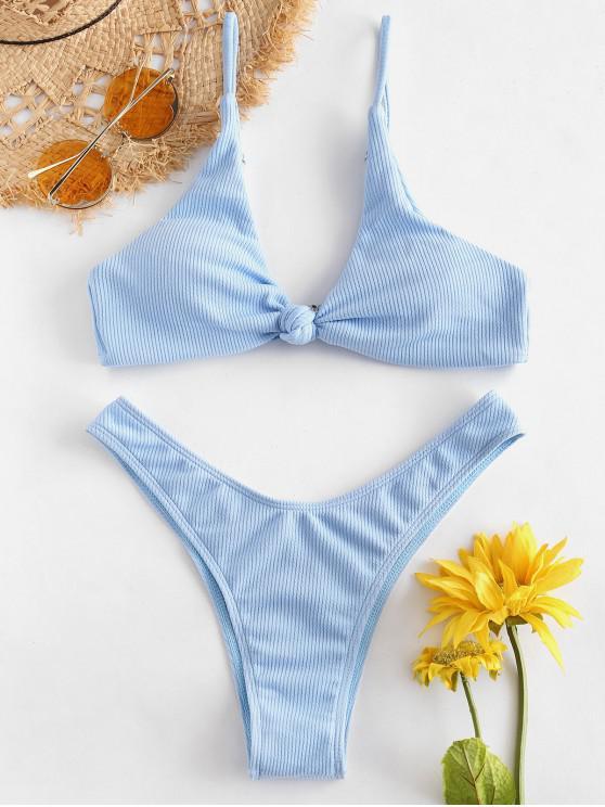 women ZAFUL Knot Ribbed Bikini Set - LIGHT SKY BLUE M